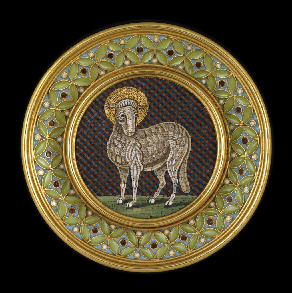 c.1860 Micromosaic brooch with the Lamb of God, made by the firm of Castellani