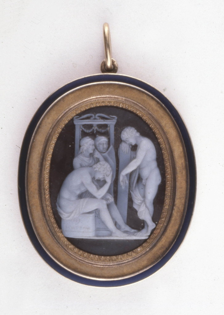 Enamelled gold pendant set with a sardonyx cameo of 'Achilles Mourning for Patroclus' with an engraved signature and a warranty mark.