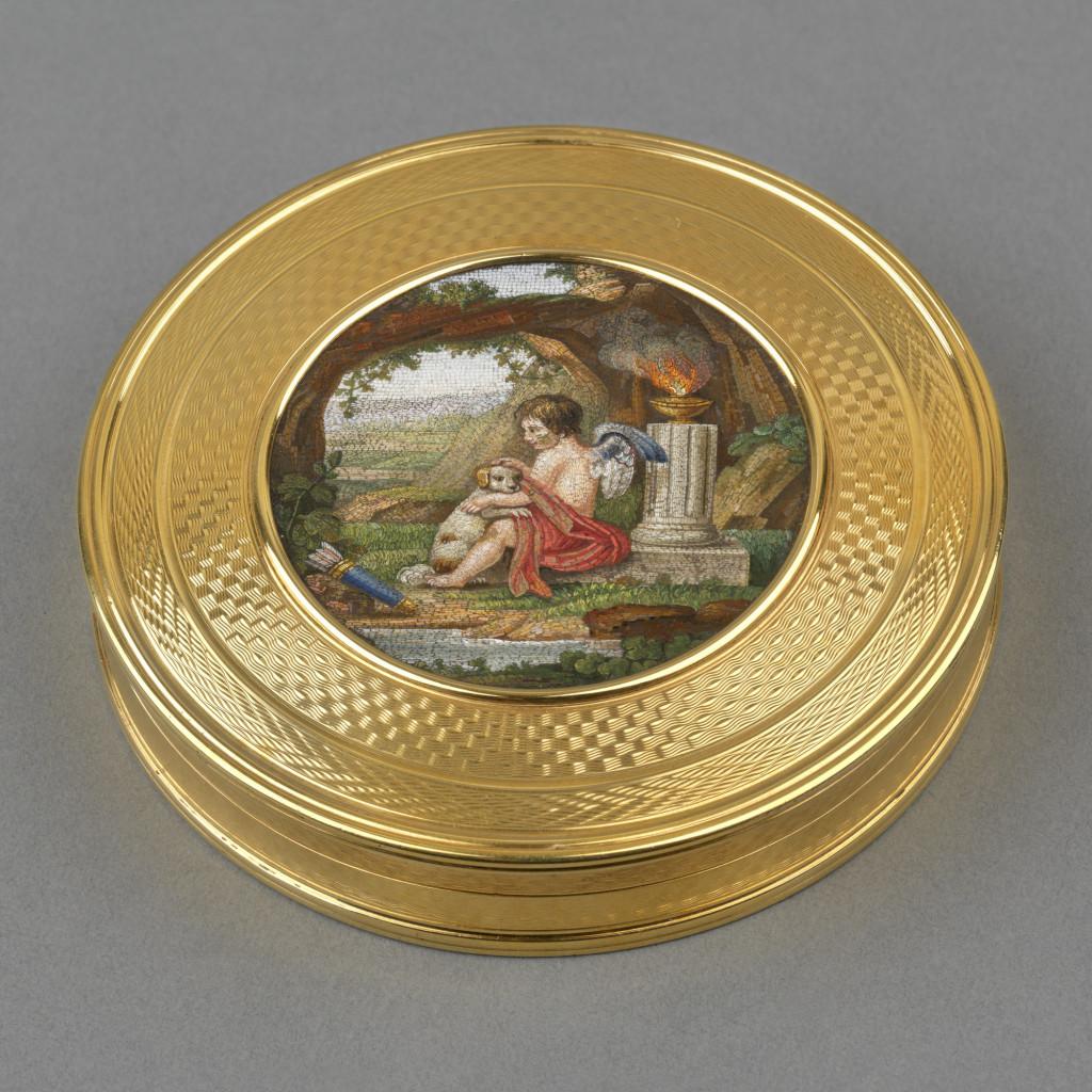 Micromosaic box, hallmarked 1816-17