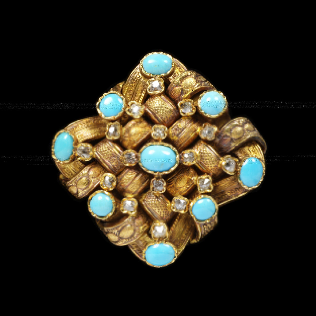 Victorian jewellery is rich in sentimental symbolism, used to signify mourning, love and friendship. Turquoise was used in profusion in jewellery of the 19th century. The bright blue colour echoed forget-me-nots, which signified true love in the language of flowers used in sentimental jewellery. It was a popular gift to bridesmaids, often in the form of turquoise doves. In 1840, Queen Victoria gave her twelve bridesmaids turquoise brooches in the shape of a Coburg eagle, a reference to Prince Albert's family.