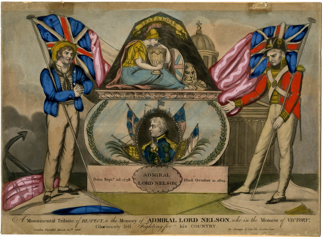 A pyramidical monument with a bust of Nelson against flags and a ship, on a plaque with the the inscription 'Admiral Lord Nelson // Born Sept.r 26, 1758. Died October 21. 1805.', surmounted by a mourning Britannia under the banner 'Trafalgar'; flanked by a British sailor on the left and a British soldier on the right, both holding flags; a neo-classical building in the background. 1806 Hand-coloued mezzotint with etching