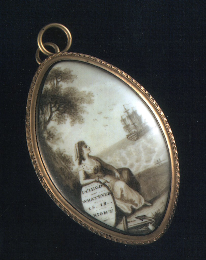 I hope you rested well. Here's a really lovely pendant we exhibited in our show at MHS- it belonged to Abigail Adams, wife of John Adams (2nd Pres. of US). I believe she was given this in 1778, by her husband, when he sailed for France with his 10-year-old son John Quincy aboard the twenty-four gun frigate, Boston, on February 15, 1778. The stormy trip was treacherous, with lightning injuring 19 sailors and killing one. Adams' ship was later pursued by several British frigates in the mid-Atlantic, but evaded them. Near the coast of Spain, Adams himself took up arms to help capture a heavily armed British merchantman ship, the Martha. Later, a cannon malfunction killed one and injured five more of Adams' crew before the ship finally arrived in France. courtesy of Adams Historical Park, Quincy, MA