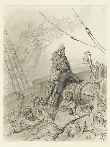 Drawing for an illustration (plate 17) of 'The Rime of the Ancient Mariner', entitled 'And never a saint took pity on my soul in agony'. A tormented male figure, the Mariner, is depicted in anguish as the last living person onboard the ship.