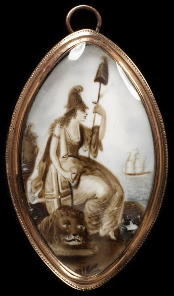 Engraved gold frame, ivory painted in watercolour with a miniature of Britannia with a ship in the distance. At the back, plaited hair and a paper label inscribed Jackson