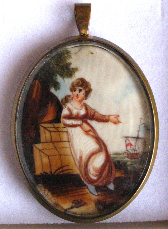 Watercolour on paper, depicting the classical female figure gesturing out to the ship sailing away