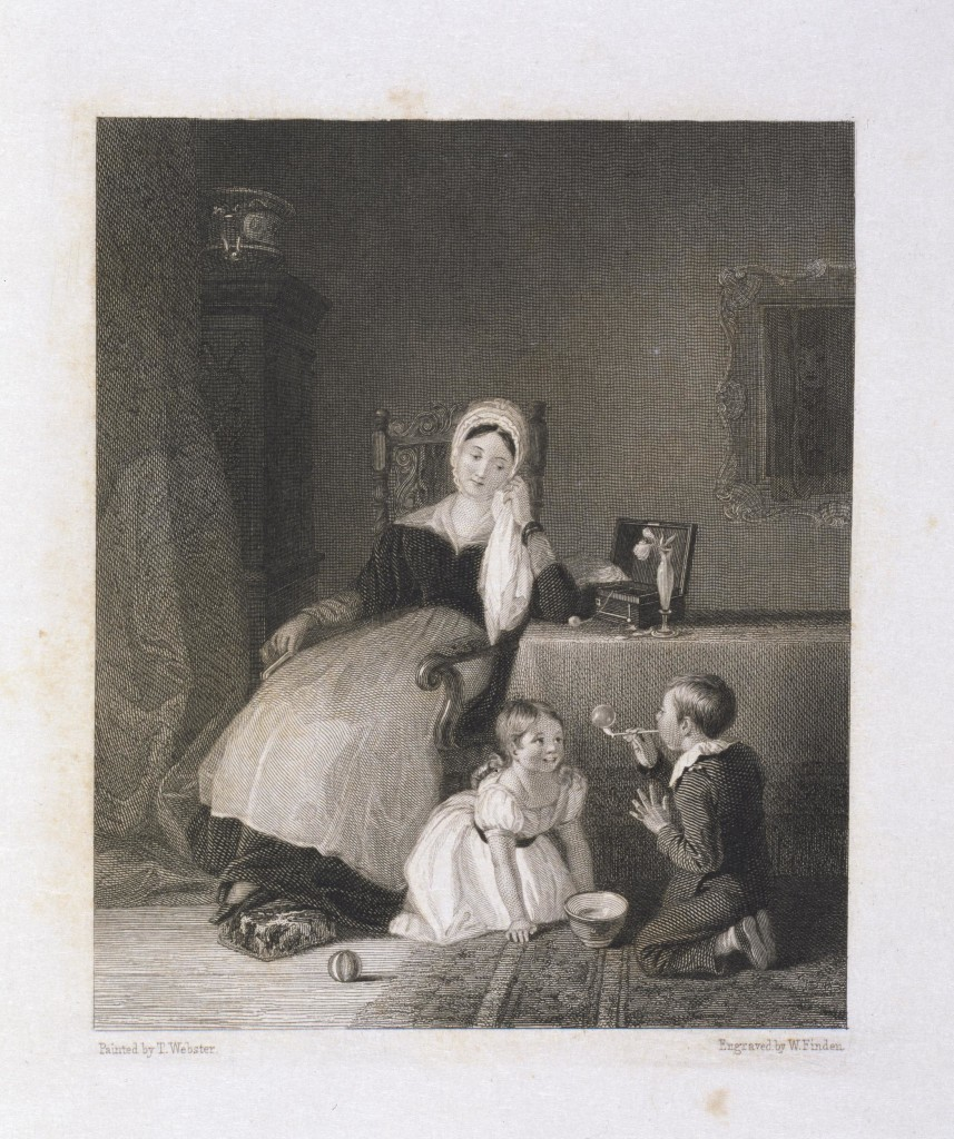 This print after a painting by T. Webster shows a young woman sat at a table, wearing a mourning cap and an apron, which covers her black dress. She rests her head in her left hand on the table while watching a young boy and girl who sit on the floor blowing bubbles.