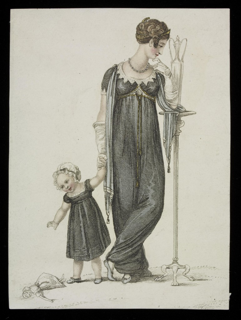 c.1809 print showing women's and children's mourning clothes.