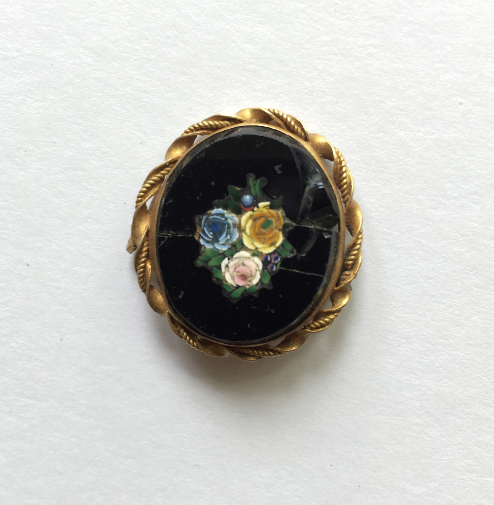 Floral inlay brooch