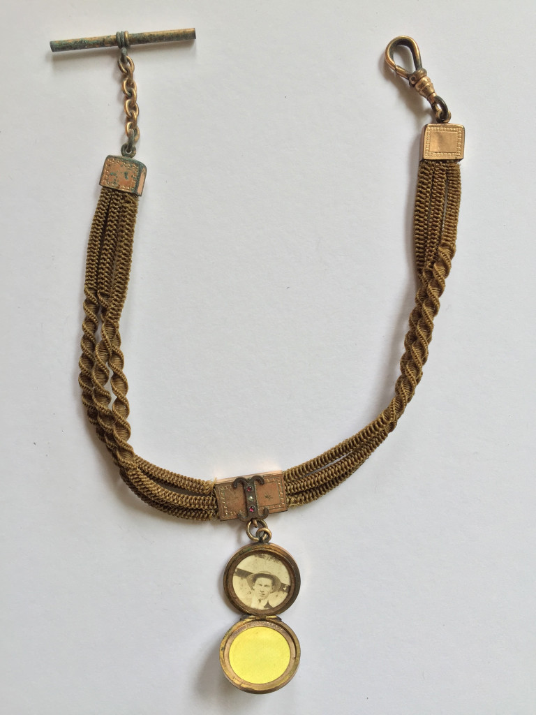 Blonde fob hair chain, with I initial and photograph, c.1890