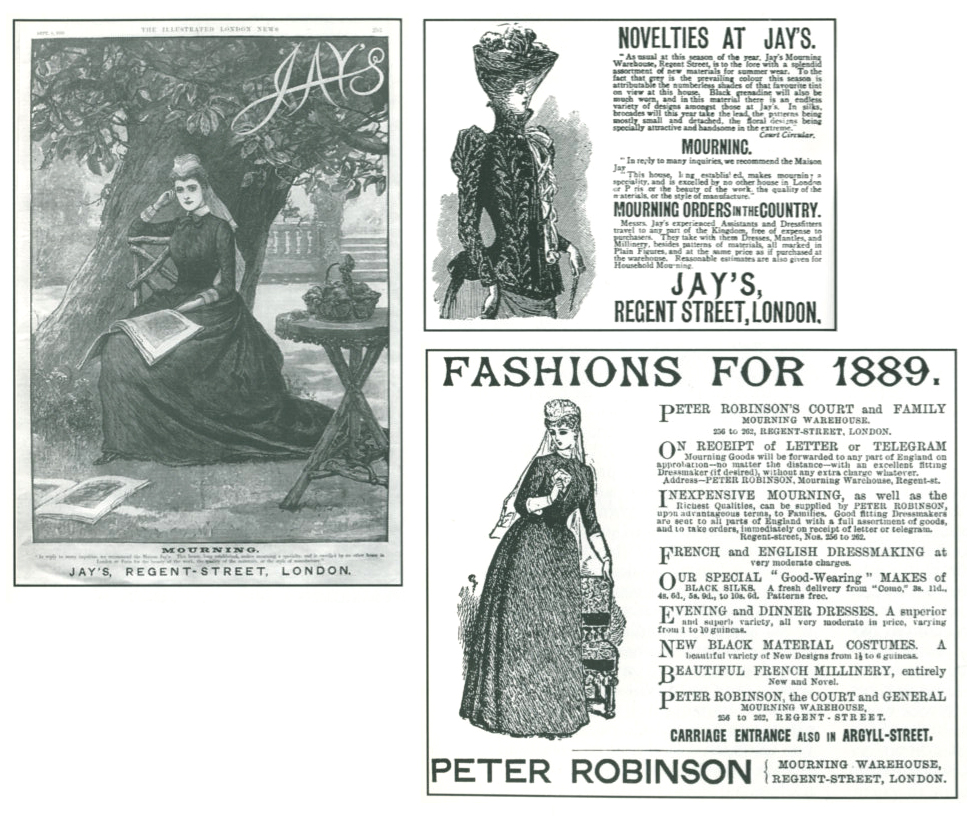 Advertisements for Jay's Mourning Warehouse