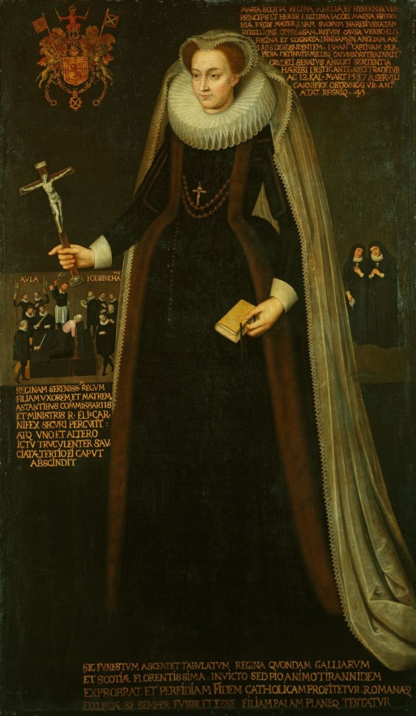 Full-length portrait of Mary, Queen of Scots (1542-87), standing in mourning costume, with the Royal Arms of Scotland behind; she holds a crucifix in her right hand, a prayer-book in her left, and wears a cross and rosary; behind her are her two ladies; left a scene of her execution