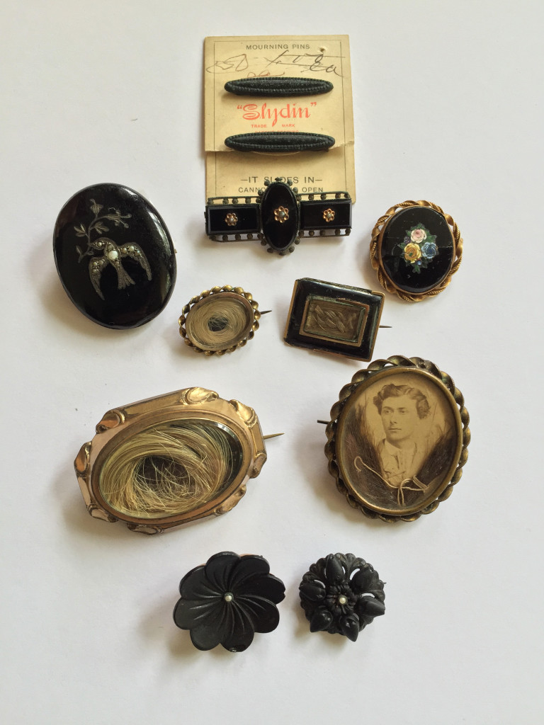 Collection of mourning and sentimental tokens donated to Art of Mourning
