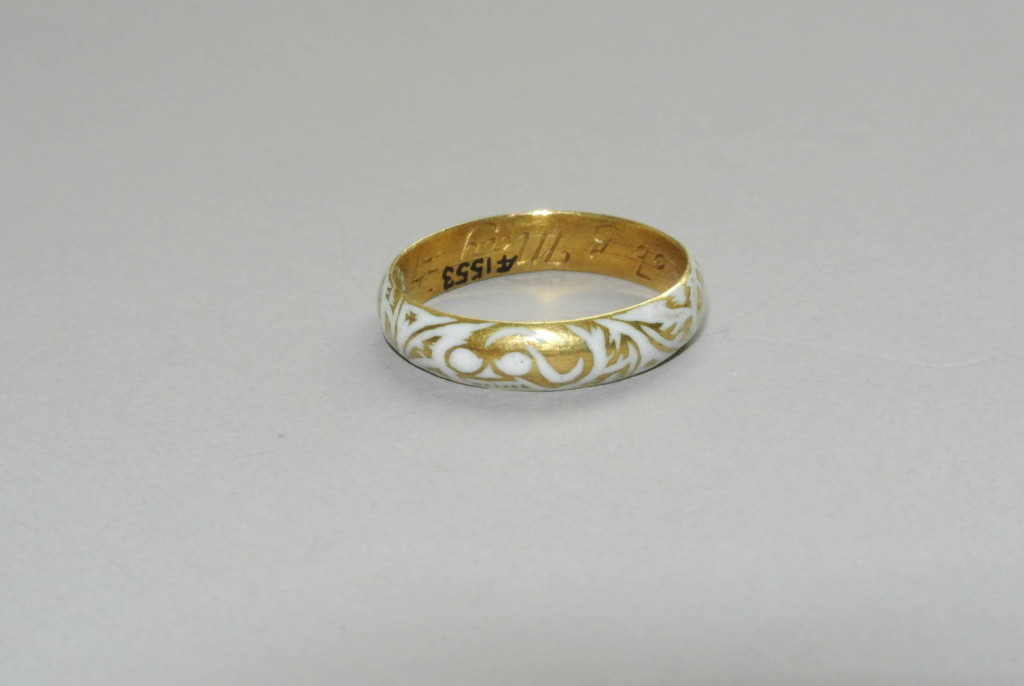 DescriptionMourning-ring; gold; hoop with white enamelled skull engraved on outside; floral design, enamelled, covering whole hoop; inscribed; goldsmith's stamp. Producer nameMade by: William Coles biography Date1724-1764 (known active dates of William Coles.)1731 (date of inscription) Production placeMade in: London term details(Europe,British Isles,England,London) Materialsgold term detailsenamel term details Techniqueengraved term detailsenamelled term details DimensionsDiameter: 0.77 inchesWeight: 63 grains Inscriptions Inscription Type inscription Inscription Position interior Inscription Content W.S.ob.5 May 1731