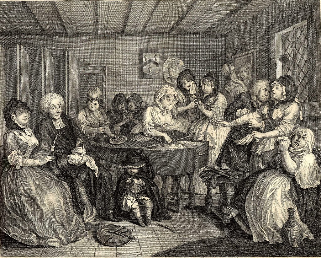 A Harlot's Progress, Plate 6. A dilapidated room with Moll's friends, mostly prostitutes, gathered around her open coffin; to left, a clergyman gropes beneath a woman's skirt, to right, the undertaker pays court to another who picks a handkerchief from his pocket; in the foreground sits Moll's small son playing with a spinning top. 1732 Etching and engraving