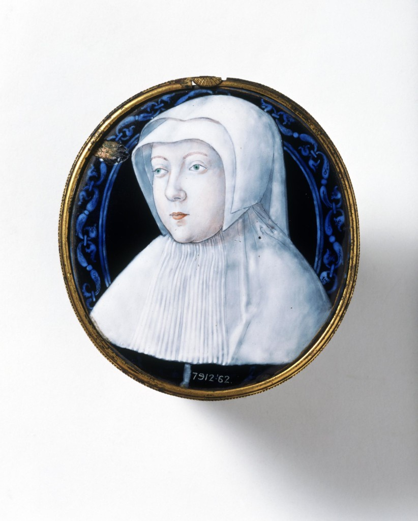 This painted enamel portrait miniature in a gilt metal frame bears a bust portrait of a lady of the French court. She has green eyes and light brown hair and wears white mourning dress. Opinion differs as to her precise identity. The decorative border of interlinked knotted blue S-scrolls surrounding her may give a clue as to who she might be, as may the choice of subject depicted on the back of the medallion. The back is delicately painted in gold with the subject of Moses receiving the tablets of the law from the Old Testament book of Exodus. Sixteenth-century portrait miniatures had their origins in the art of manuscript illumination and were usually painted in watercolour on vellum. The earliest extant painted enamel medallion is probably Netherlandish and can be dated to about 1425. This miniature was however made in Limoges, central France, a town already famed for its earlier champlevé enamel production. Painted enamels, made in Limoges from 1460s, reached an artistic and technical high-point during the sixteenth century. The work was highly-skilled and time-consuming which means that a well-executed portrait medallion such as this was an expensive luxury item made to commission. Though unsigned, the miniature is now considered to have been painted by the skilled Limoges artist Leonard Limosin (c.1505 to c.1575/77) in about 1530-40, at the start of his long career. Limosin is thought to have trained in the Penicaud workshop, and the medallion has previously been attributed to Jean II Penicaud, a known exponent of detailed gold painting. In about 1534, Limosin was invited to the court of Francois I and subsequently divided his time between the court at Fontainebleau and his workshop in Limoges. He later also served Henri II, Francois II and Charles IX. Before 1842, this enamel was owned by the well-known collector, Horace Walpole who claimed that it had once belonged to the mother of King George I, Princess Sophia Maria, Duchess of Hanover (d.1714).