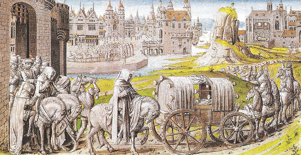 Funeral cortege of Richard II leaving Pontefract Castle