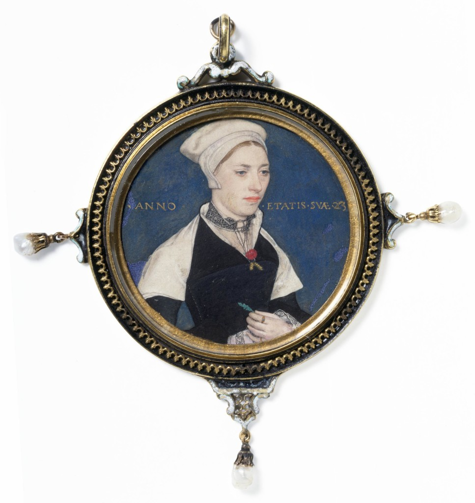 When Holbein painted this image in 1536, it was virtually unknown in England for anyone other than courtiers to be recorded in a portrait. Until then portraiture had been a part of the funeral traditions of the powerful rather than a celebration of more modest lives. This beautiful miniature, however, shows that almost from the moment of its invention the portrait miniature was not exclusively a court art. A coat of arms, painted on a piece of vellum long associated with this portrait and set in the lid, identifies the sitter as 'Mrs Pemberton'. This identification had always been something of a puzzle, since Mrs Pemberton appeared to be the wife of an obscure country gentleman living in a Northamptonshire village, far from both the court and Holbein's practice in London. Recently, however, the evidence has been reinterpreted, and the more likely explanation is that the sitter was Mrs Jane Small, whose maiden name was Pemberton. Jane was the wife of a prosperous London merchant, Nicholas Small, and they were close neighbours of Holbein. It is not known if she was painted for a particular occasion, or why she is shown wearing a red flower and two ears of corn and holding a leaf.