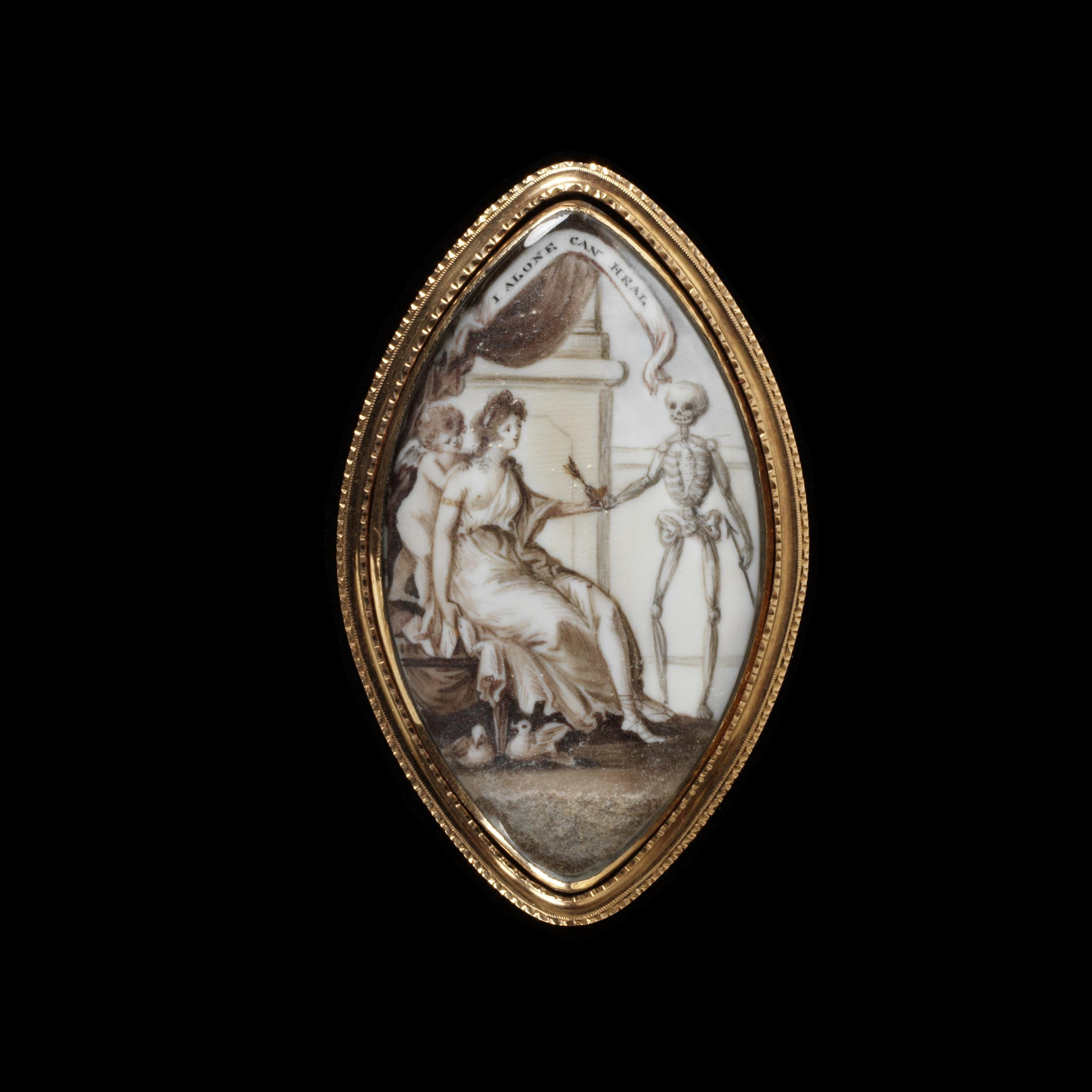 Engraved gold frame, ivory painted in watercolour with a miniature of a woman handing a heart pierced by an arrow to a figure of Death, surmounted by an inscription I ALONE CAN HEAL The back of plaited hair crossed by the name Fergusson on paper. Exposed breast.