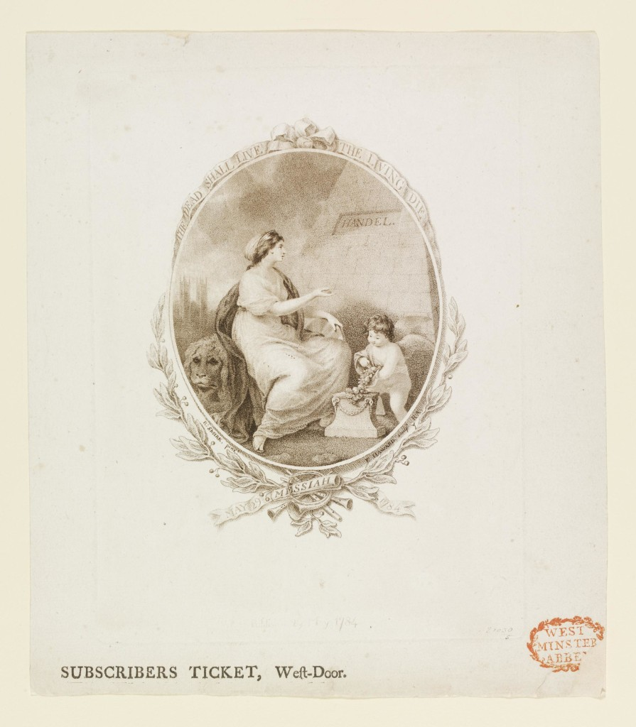 Subscriber's ticket for a Handel Commemoration Concert of Messiah on 29th May 1784. For the 'West-Door'. A central ovoid design, featuring a woman and cherub next to Handel's tomb, framed with foliage and a banner. Etching and stipple engraving. This ticket relates to the design E.1228-1948 in respect of the principal figure at the tomb but there are many differences.