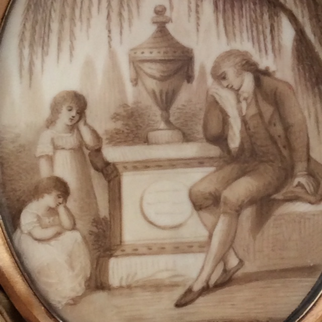 Neoclassical miniature for a grieving family in original case. Scenario features a father, two children in white, the plinth, urn and willow.