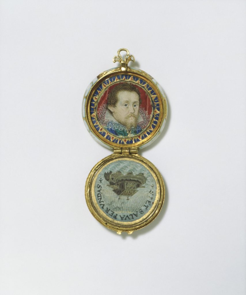 The case is decorated on both sides with red translucent enamel on a diapered ground. The band is enamelled in opaque white. Thin gold lines remain to form a network of long C-scrolls. Inside the case are two miniatures from the workshop of Nicholas Hilliard. One shows James I, King of England (ruled 1603-1625), the other Noah's Ark. The portrait of James I derives from a miniature by Hilliard, painted around 1605, which is now at Windsor Castle.