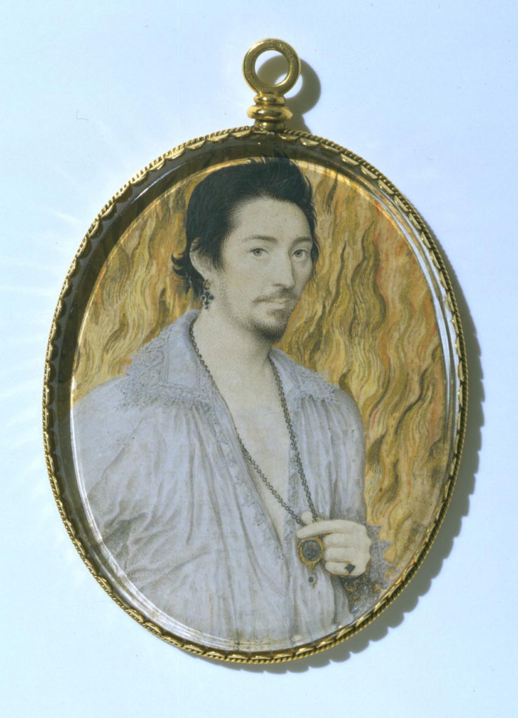Portrait miniature of a man, oval, half-length, and standing against flames by Nicholas Hilliard.
