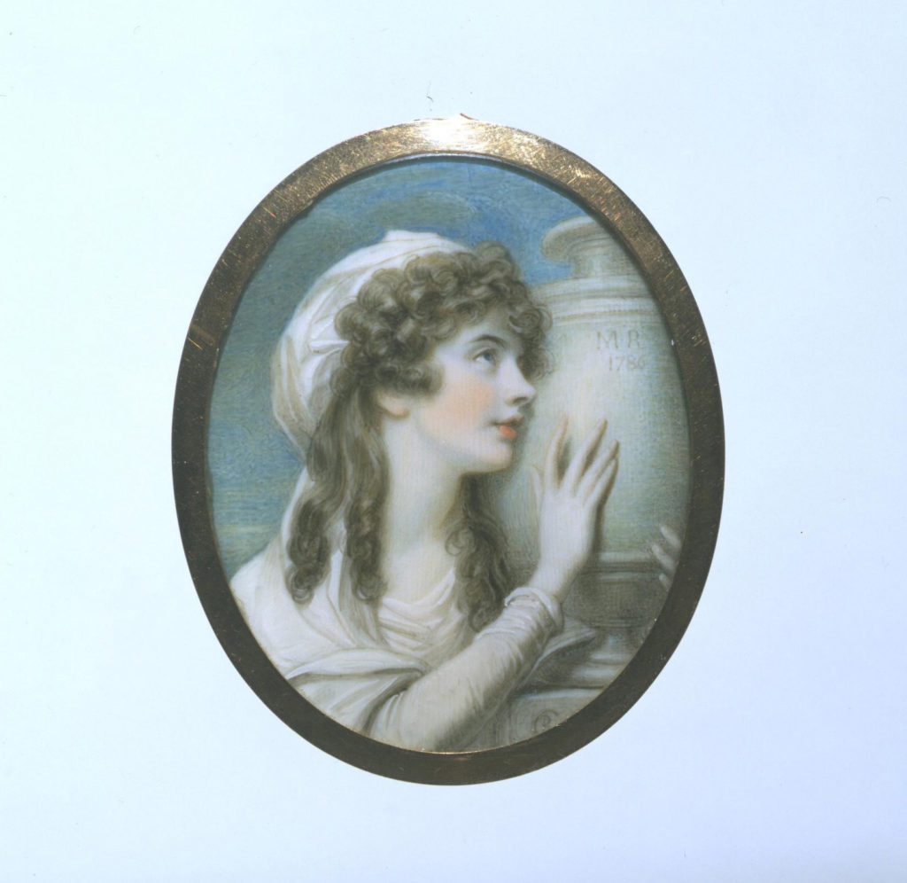 Miniature portrait by Richard Cosway R.A. (1742-1821), Margaret Cocks (1773-1847), the sister of Mrs Mary Russell, holding the remains of Mrs Mary Russell, c.1787.