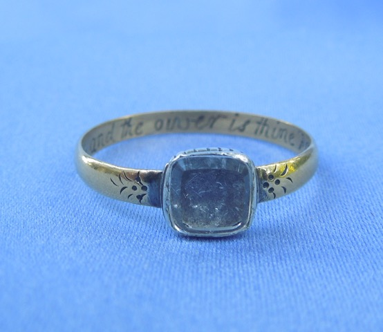 "Front of posie ring with crystal bezel and hair, stating ""This and the giver is thine forever""."