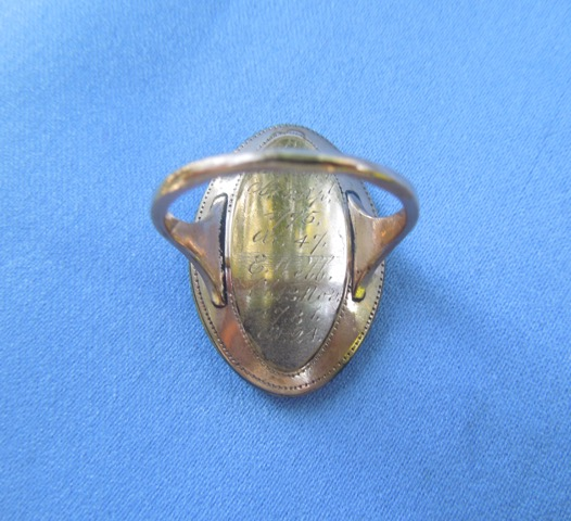 "Sepia Neoclassical ring with willow, lady, hope and charity, stating ""My Dear Friends Are Gone""."