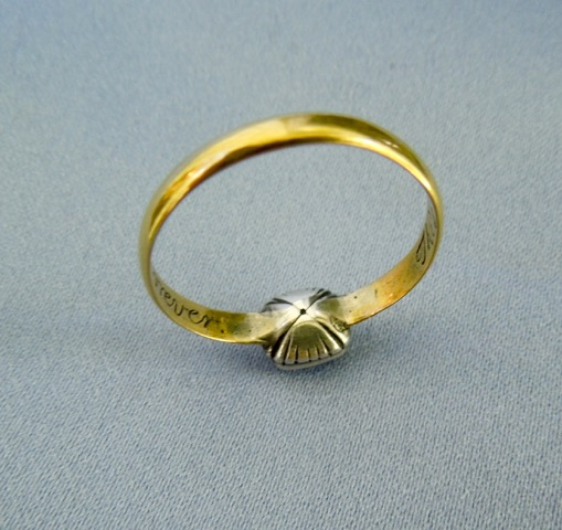 "Reverse of posie ring with crystal bezel and hair, stating ""This and the giver is thine forever""."