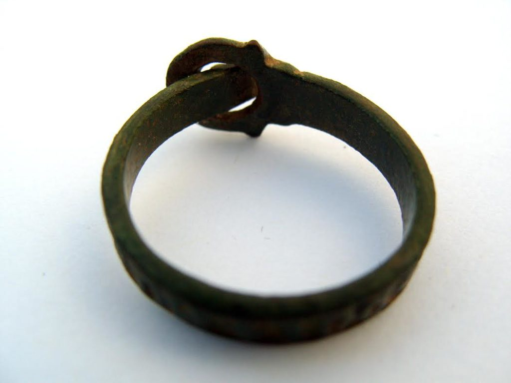 "Bronze religious buckle ring, c.14th Century, inscribed ""MATER DEI MEMANTO"" / ""Mother of God Remember Me""."