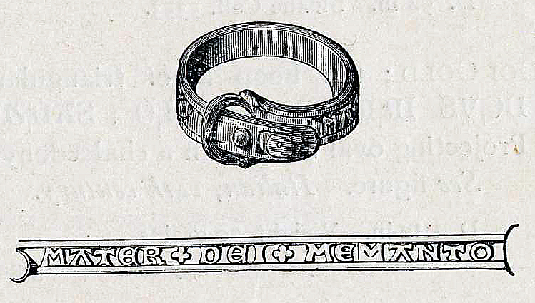 Finger-ring; bronze; in form of buckled strap; inscribed 'MATER DEI MEMANTO', c.14th century.