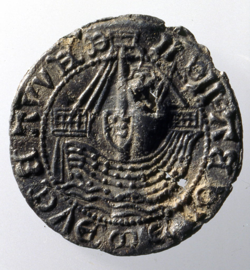 Pilgrim-badge; lead alloy; circular; obverse with figure of ship, c.400-1500.