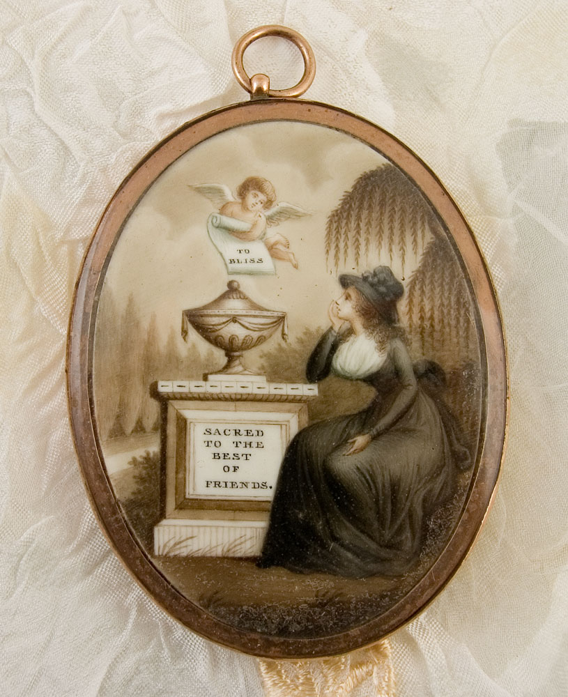 Neoclassical mourning miniature with the inscription 'to bliss' and 'sacred to the best of friends'. The lady is dressed in high mourning fashion.