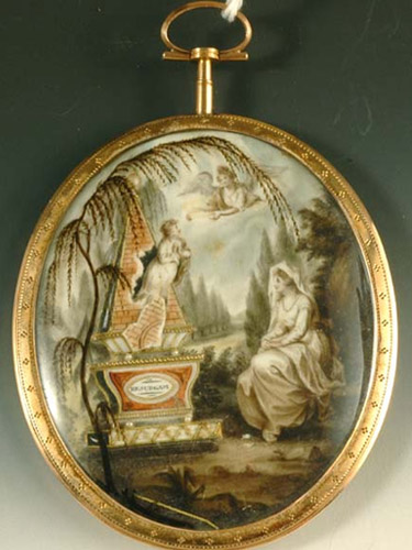 Neoclassical mourning miniature, featuring a lady all in white and the soul of the child flying to the heavens. Watercolour, c.1790s.