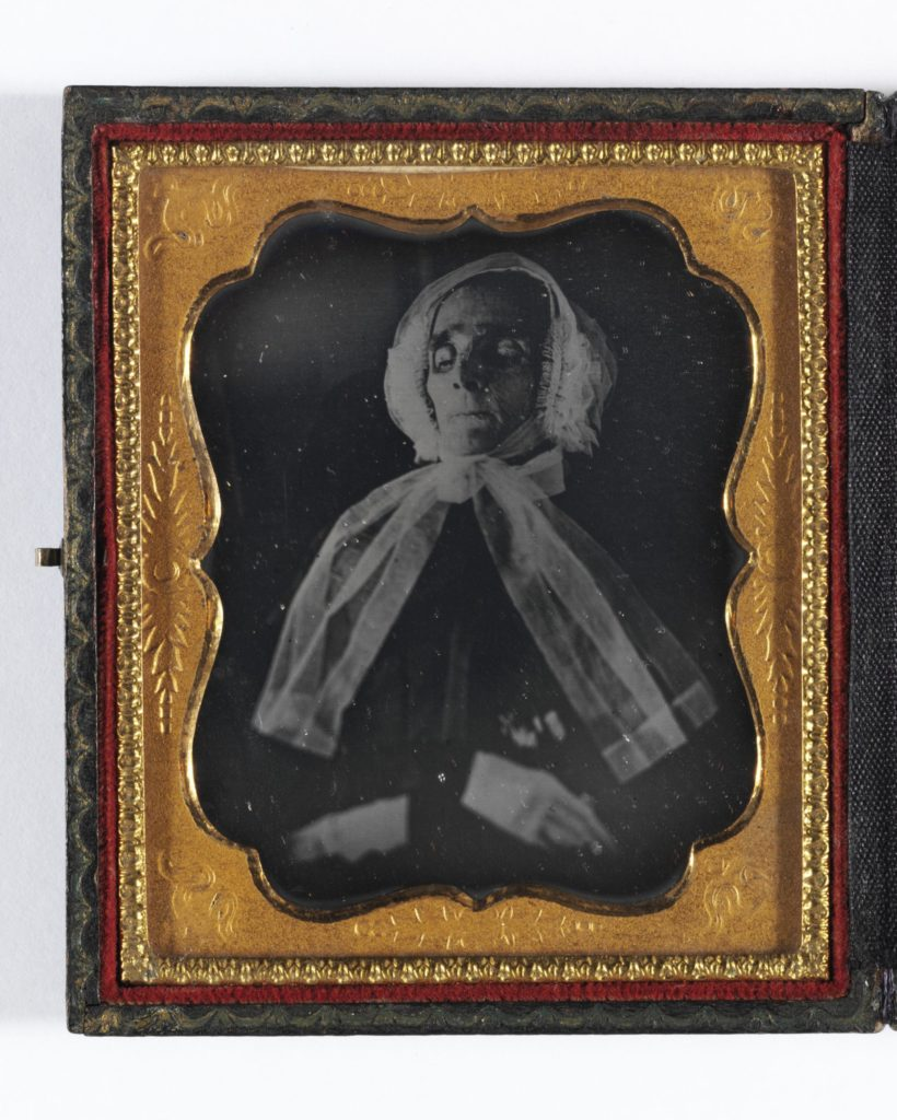 Daguerreotype Place of origin: United States (probably, photographed) Date: ca. 1845-1855 (photographed) Artist/Maker: Unknown Materials and Techniques: Sixth plate dagerreotype mounted in hinged wood embossed leather case