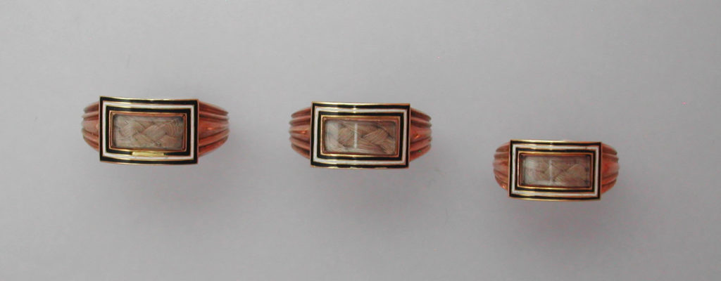 John Rose Mourning Rings, 1815, black and white enamel with hair