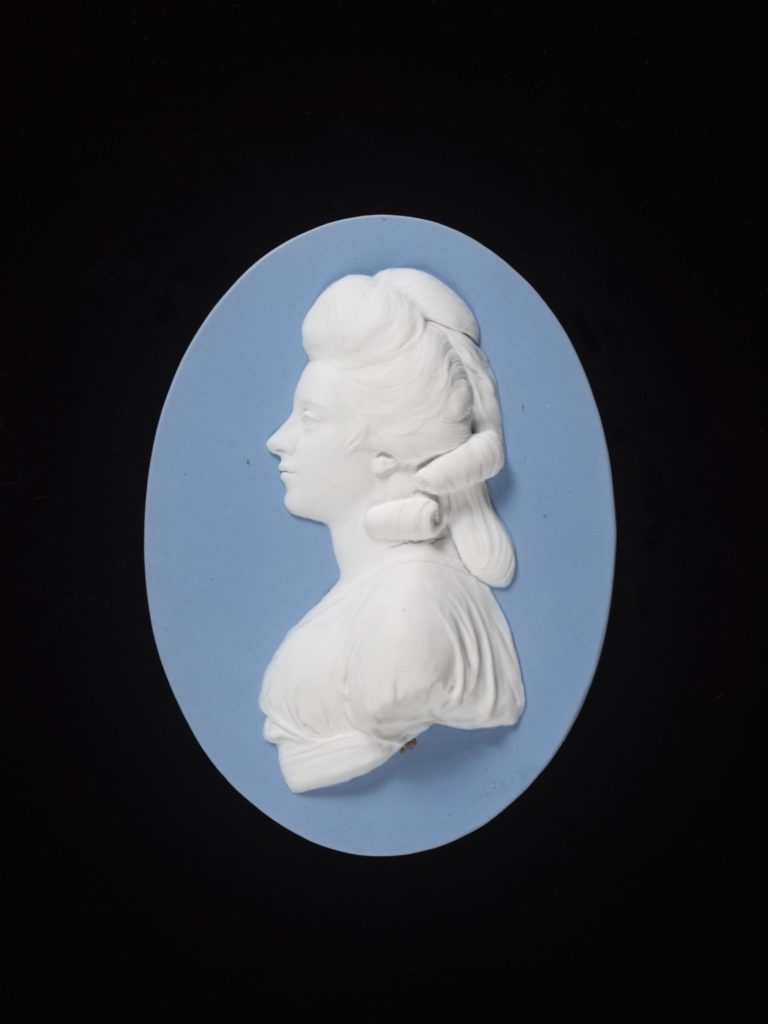 Duchess of Devonshire. Jasperware, modelled by John Flaxman (1755 - died 1826) and Josiah Wedgwood and Sons (maker).