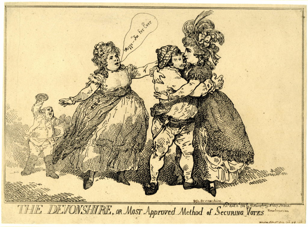 """The Devonshire, or most approved method of securing votes"" Etching, 12 April 1784"