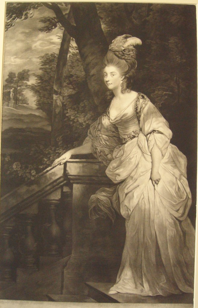 Portrait after Reynolds (Mannings 327); standing whole-length to left about to descend steps at left, her right hand on balustrade; her hair high and dressed with feathers and pearls; park beyond; proof before letters, but with scratched production and publication detail. 1 July 1780 Mezzotint