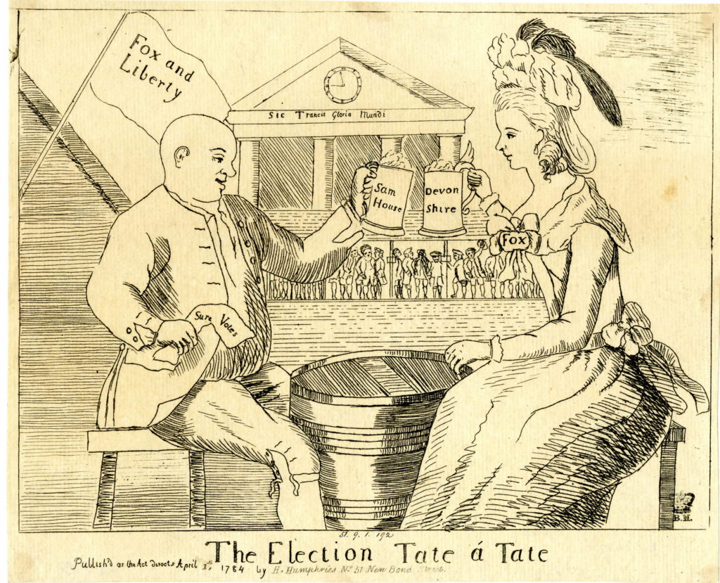 The Devonshire, or most approved method of securing votes. 12 April 1784, etching.