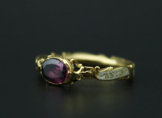 Mourning ring for sr, Oswald Mosley FE:1757 AE:52 with white enamel and amethyst.