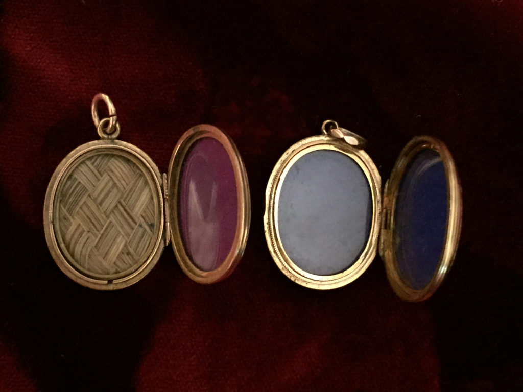Inside of 'NOT LOST BUT GONE BEFORE' mourning lockets.