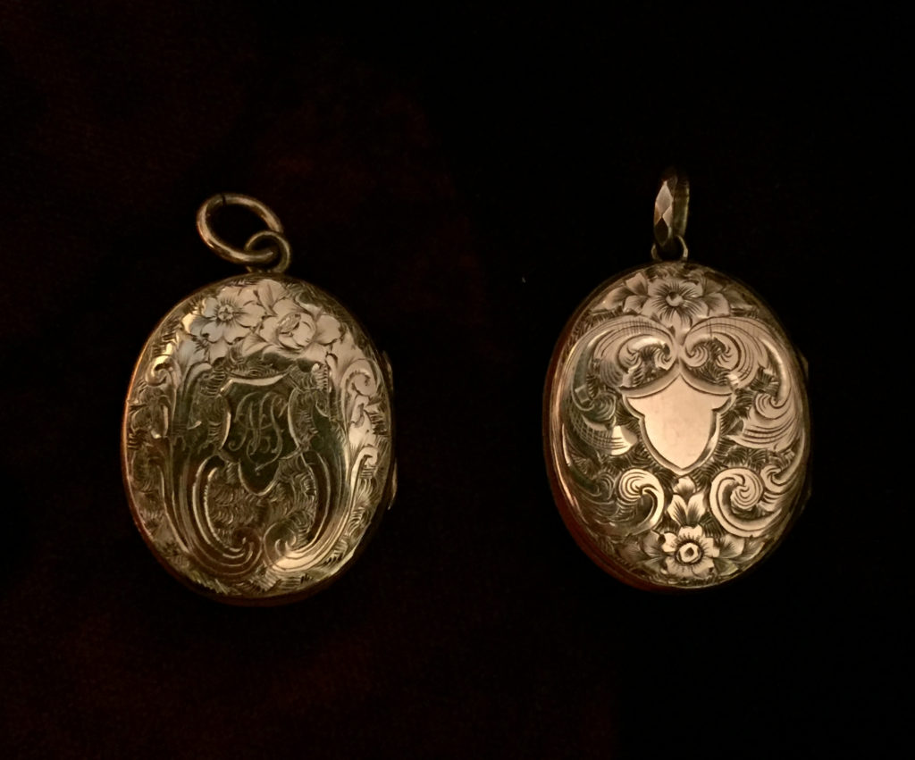Reverse of 'NOT LOST BUT GONE BEFORE' mourning lockets.