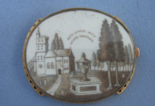 """""""NOT LOST BUT GONE BEFORE"""" sepia miniature painting on a bracelet clasp, featuring cypress, church and urn."""