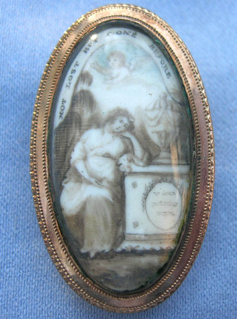 """""""NOT LOST BUT GONE BEFORE"""" coloured brooch, featuring mourning female, urn, plinth, willow and cherub, c.1790s."""