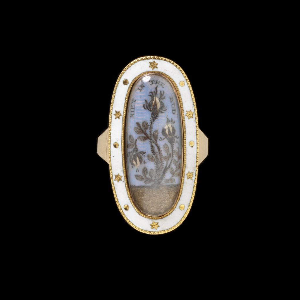 Gold, enamel and hair mourning ring for Butterfield Harrison, England, 1792.