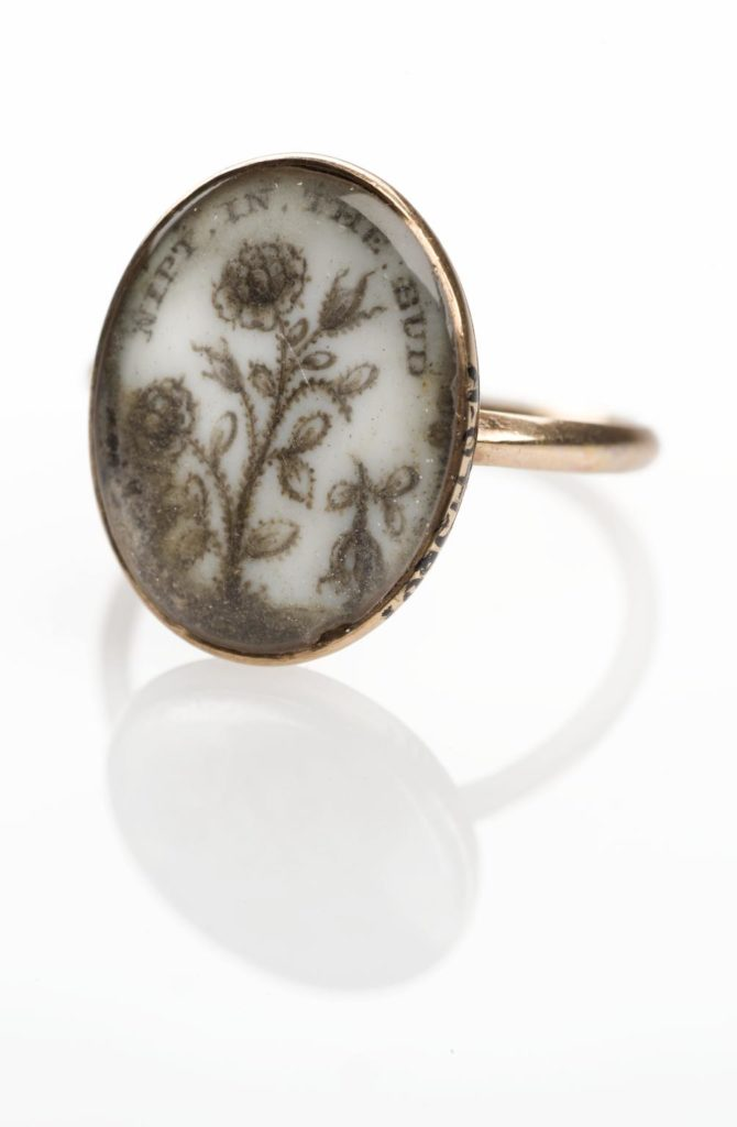 'Nip'd in the bud', a mourning ring for Augusta Bruce, c.1780s. Wellcome collection at the Science Museum.