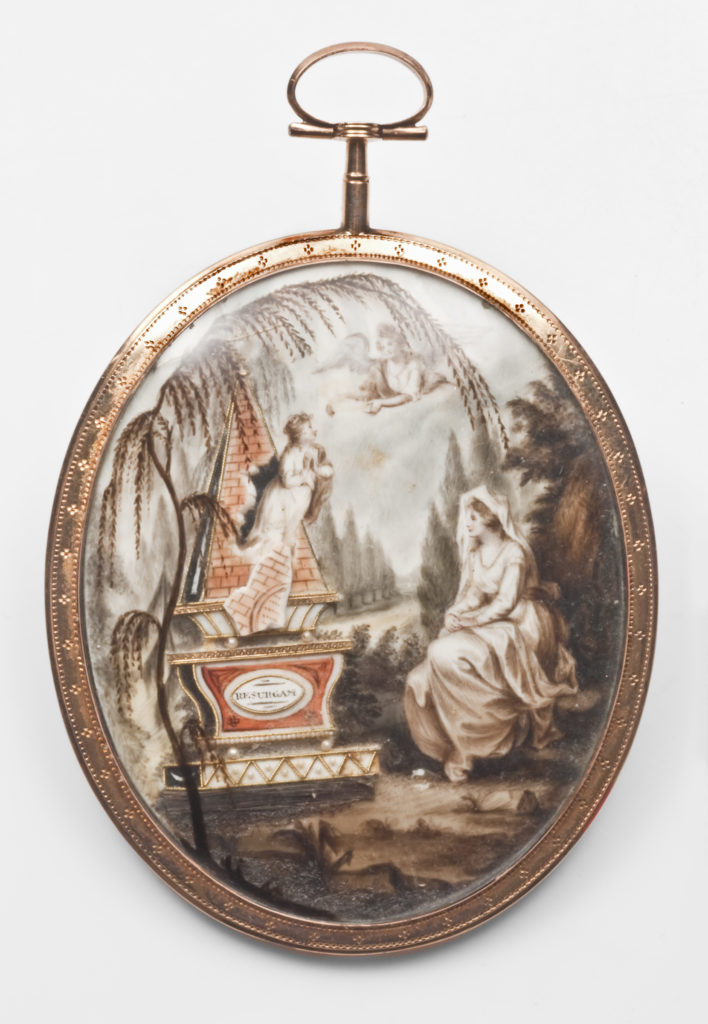 Neoclassical mourning miniature, featuring female, soul breaking free of the tomb and flying towards the heavens with an angel in waiting. Willow and cypress flank a tomb that reads 'RESURGAM'.