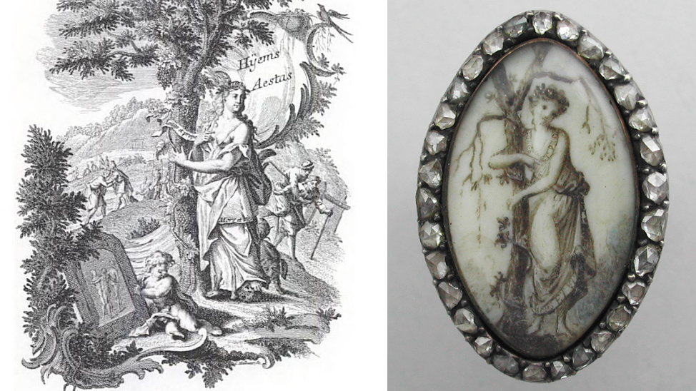 "An example of this is perfectly captured in this French ring. On first look, the ring's depiction is unlike the basic grieving figure that we take for granted. Simply considering this as such defies the very nature of the piece. What we can make of it, however, is she has two phrases written on her dress; upon the collar is ""Longe et Prope"" (far and near), and on her hem, the phrase ""Mors et Vita"". Upon her head, she is crowned with myrtle (like friendship, evergreen) and pomegranate flowers (concord and internal union) and she is also barefoot (for friendship knows no inconvenience too great for it). Next to her is an elm tree, depicted dead/lifeless symbolising that one true friend does not abandon another in distress, and true friendship is based on mutual support and interdependence."
